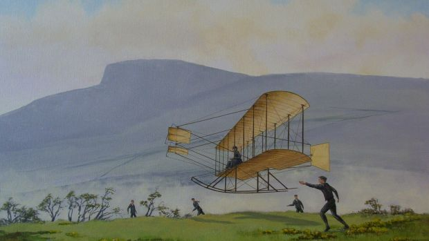 A Norman Whitla painting of Lilian Bland and her glider in Carnmoney Hill