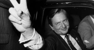 Olof Palme after his election victory in September 1982. The findings of a decades-long investigation into his murder will be made public on Wednesday. Photograph: Bertil Ericson/TT News Agency/ AFP via Getty