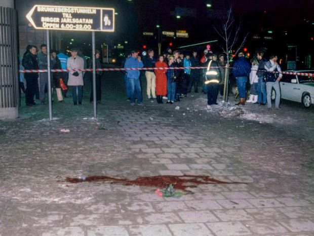 A pool of blood and flowers mark the spot where Olof Palme was assassinated in Stockholm on March 1st, 1986. Photograph: Bjorn Elgstrand/EPA