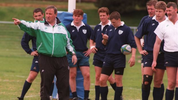 Ireland coach Gerry Murphy takes a session at Milpark in Johannesburg ahead of the opening game of the 1995 Rugby World Cup in South Africa. Photograph: Phil Cole/Allsport