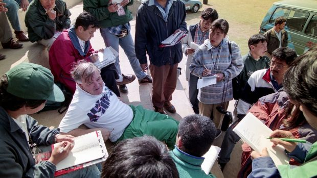 Ireland manager Noel Murphy talks to the press during the 1995 Rugby World Cup in South Africa. Photograph: Billy Stickland/Inpho