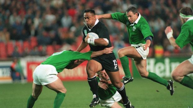 Jonah Lomu in action against Ireland in the opening game. Photograph: Billy Stickland/Inpho