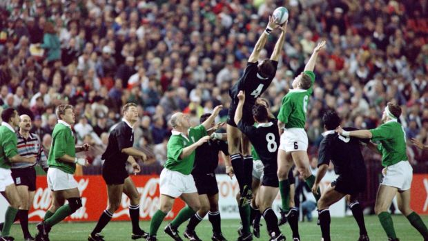 David Corkery at the back of the Irish lineout as New Zealand's Ian Jones takes the ball. Photograph: Philip Littleton/AFP via Getty Images