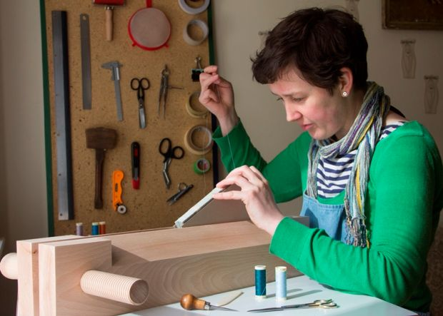 Éilís Murphy, bookbinder, at work in her studio in the Burren, Co Clare