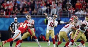 Quarterback  Jimmy Garoppolo  of the San Francisco 49ers throws a pass against the Kansas City Chiefs during  Super Bowl LIV at Hard Rock Stadium  in Miami at the start of February. Photograph: Rob Carr/Getty Images