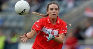 Cork's Orlagh Farmer in action during the 2019 Lidl Ladies National Football League Division 1 Final against Dublin at  Parnell Park. Photograph: Bryan Keane/Inpho