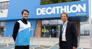 Bastien Grandgeorge, right, chief executive of Decathlon Ireland, and Kieran O'Shea, store leader at its new outlet in Ballymun, which will open on Saturday. Photograph: Dara Mac Donaill / The Irish Times