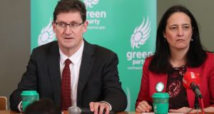 Green Party  leader Eamon Ryan and deputy leader Catherine Martin at a press conference last February. Photograph: Nick Bradshaw