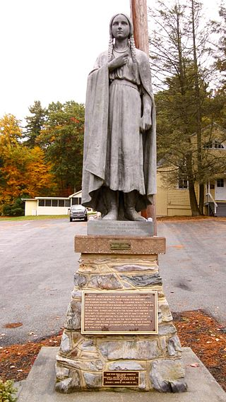 Statue of Mary Jemison near her home in Adams County, Pennsylvania. It was erected in 1921. Photograph: Doug Kerr