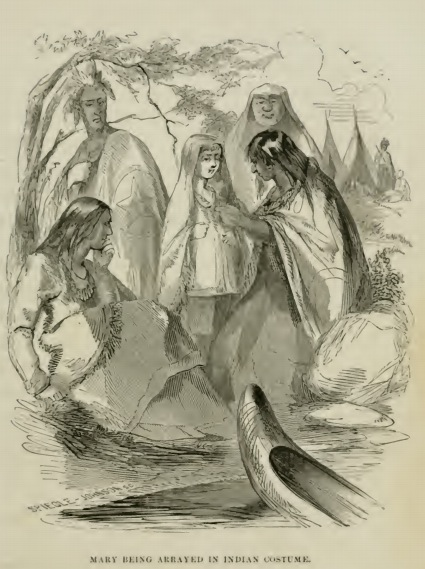Mary Jemisonin Native American clothing from the 1856 printing of 'The Life of Mary Jemison, Deh-He-Wa-Mis'. Photograph: James E Seaver