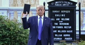 """Donald Trump was widely condemned for making use of the Bible for what the American Primate Michael Curry described as partisan political purposes.""  Photograph:    Brendan Smialowski/AFP via Getty Images"