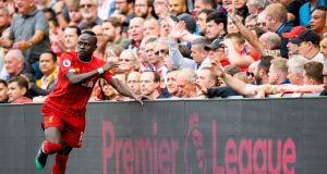 Sadio Mane scored in Liverpool's 6-0 win over Blackburn Rovers in a friendly at Anfield. Photograph: Peter Powell/EPA