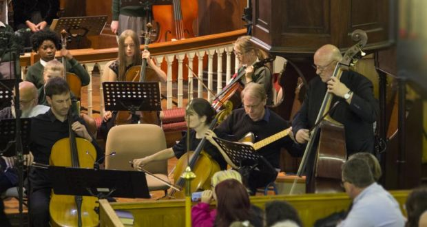 Composer Gavin Bryars(on double bass, in front of pulpit) performing with Music Generation Louth students at St Nicholas Church of Ireland, Dundalk, in June 2018. Photograph: Alannagh Brennan