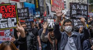 Protesters demonstrate in Hong Kong last January against China's growing political influence over the territory, and interference with its autonomy. Photograph: Lam Yik Fei/New York Times