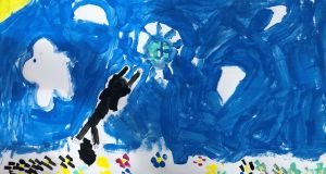 Covid-19: the six-year-old's picture of her cat attacking the disease, a black streak with sharp claws pouncing on a green spiky ball against a bright-blue sky