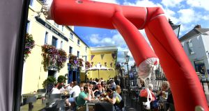 Beer garden of the Queen's in Dalkey: Its car park makes it an attractive development site. Photograph: Cyril Byrne
