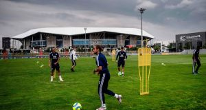 Olympique Lyonnais players take part in a training session at Groupama Stadium in Décines-Charpieu as last Wednesday as France eases lockdown measures taken to curb the spread of Covid-19. Photograph: Jeff Pachoud/AFP via Getty Images