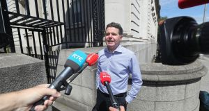 Minister for Finance Pascal Donohoe at Government Buildings on Sunday. Photograph: Niall Carson/PA Wire