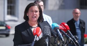 Sinn Féin leader Mary Lou McDonald speaks  at Leinster House  after Fianna Fáil, Fine Gael and the Greens finalised the text of a draft programme for government four months on from the election. Photograph:   Niall Carson/PA Wire