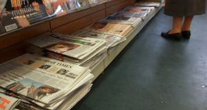 Newspapers on newsstands. File photo. Photograph: Bryan O'Brien