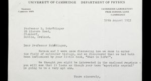 The letter from Nobel Laureate Francis Crick to Erwin Schrödinger, then director of theoretical physics at DIAS, acknowledging the influence of his 'What Is Life?' lectures in his molecular-biological journey with James Watson that culminated in their discovery of the make-up of DNA.