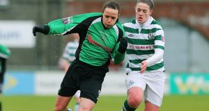 Walsh (right) challenges Aine O'Gorman of Peamount United during her time with Shamrock Rovers. Photo: Lorraine O'Sullivan/Inpho