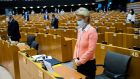 European Commission president Ursula von der Leyen observes a minute of silence along with European Parliament members in honour of George Floyd. Photograph: Francisco Seco