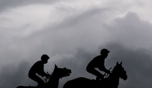 RACING RETURN: Horses go to post during the Limerick Races at Greenmount Park, Co Limerick. Photograph: Morgan Treacy/Inpho