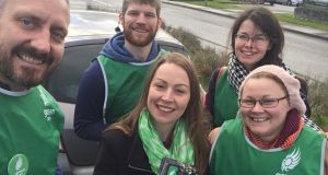 Julie O'Donoghue (centre) canvassing with Kieran O'Donovan, Aidan Casey, Julie O'Donoghue, Maria Casey and Stephanie Browne during the general election in February 2020.