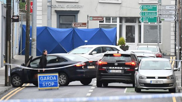 The shooting took place on the town's Main Street. Photograph: Michael McCormack
