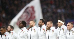 England line up ahead of their clash with the All Blacks at Twickenham in November 2018. Photograph: Phil Walter/Getty