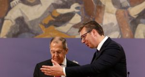 Serbian President Aleksandar Vucic (R) shakes hands with Russian Foreign Minister Sergei Lavrov (L) after their press conference in Belgrade, Serbia,  June 18th, 2020. Photograph: Andrej Cukic