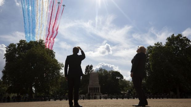 Irish backstop - French president Emmanuel Macron and British prime minister Boris Johnson watch a flypast to mark the 80th anniversary of General de Gaulle's appeal to French people to resist the Nazi occupation. Photograph: Simon Dawson/Bloomberg