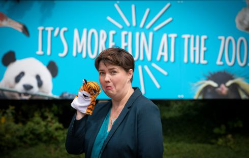 SCOTLAND REOPENING: Edinburgh MSP Ruth Davidson campaigning outside Edinburgh Zoo for its safe reopening as part of the phase two easing of lockdown restrictions. Photograph: Jane Barlow/PA Wire