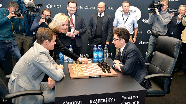 In last week's $265,000 Clutch Knockout final Carlsen met his old rival Fabiano Caruana. File photograph: Getty Images