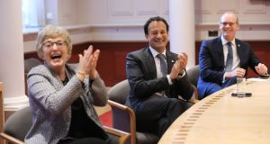 Taoiseach Leo Varadkar, Tánaiste and Minister for Foreign Affairs Simon Coveney and Minister for Children and Youth Affairs Katherine Zappone