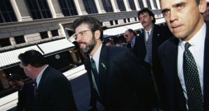 Gerry Adams, president of Sinn Féin at the time, walking in a St Patrick's Day parade in New York. Photograph: James Leynse/Corbis via Getty Images