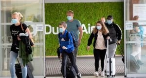 Passengers arriving in Dublin Airport in early June. Air bridges may enable more Irish people to fly abroad this summer. Photograph: Colin Keegan/Collins Dublin