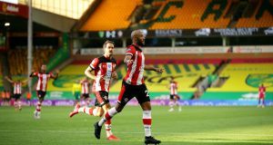 Southampton's Nathan Redmond celebrates scoring his side's third goal of the game during the Premier League win over Norwich. Photo: Richard Heathcote/PA Wire/NMC Pool