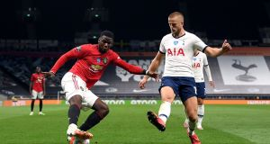 Manchester United's Paul Pogba in action against Spurs on Friday night. Photograph: PA