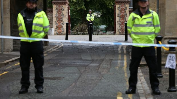 Irish backstop - Police at the Abbey gateway of Forbury Gardens in Reading town centre following a multiple stabbing attack in the gardens. Photograph: Jonathan Brady/PA Wire