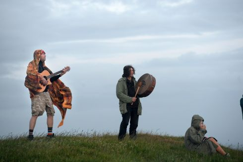 Adrian Young, Co. Down (left) at Summer solstice celebrations on the Hill of Tara, Co. Meath. Photograph: Dara Mac Donaill / The Irish Times