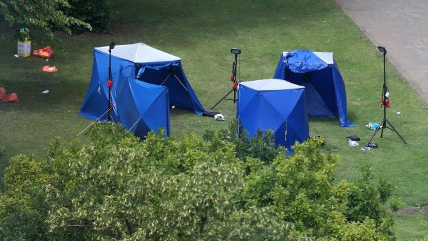 Irish backstop - Police tents and equipment at the scene of a fatal stabbing incident in which three people died and which is being treated as terrorism, in Forbury Gardens park, Reading, west of London. Photograph: AFP/Getty