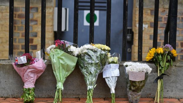 Irish backstop - Floral tributes at a police cordon at the Abbey Gateway near Forbury Gardens park in Reading, west of London, following a fatal stabbing incident the previous day. Photograph: Ben Stansall/AFP/Getty