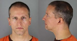 Mug shots of Derek Chauvin, the former Minneapolis police officer charged with the murder of George Floyd. File photograph: Handout/Hennepin County Jail/AFP/Getty