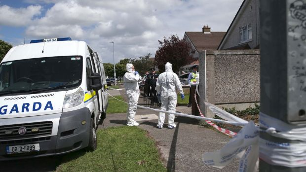 Gardaí at the scene of the fatal assault on Jean Eagers in her home at Willow Wood Grove, Hartstown, Dublin, on Sunday morning. Photograph: Stephen Collins/Collins Photos