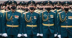 Russian military servicemen prior a rehearsal for  the Victory Day parade in St Petersburg. Photograph: Anatoly Maltsev