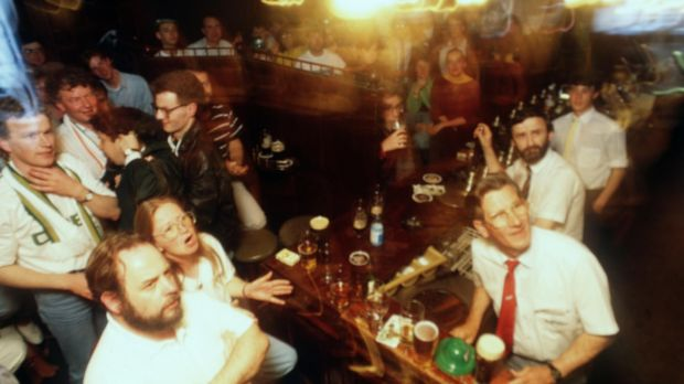 Ireland fans watch the game game against England in Toners Bar, Dublin. Photo: James Meehan/Inpho