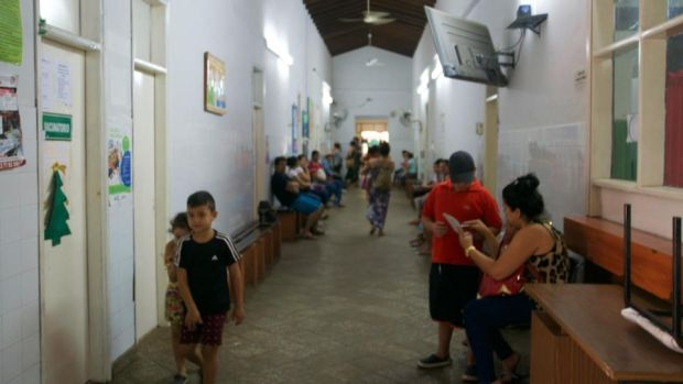 Patients wait for their consultations in the hallways of the maternity ward in Asunción. Paraguay has the second highest levels of pre-eclampsia in South America. Photograph: Kait Bolongaro