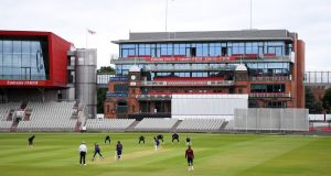 The West Indies play the first day of a warm-up match at Old Trafford on Tuesday. Photograph: Gareth Copley/PA